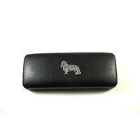 King Charles Spaniel Motif on Black Faux Leather Glasses Case