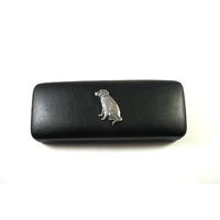 Labrador Retriever Motif on Black Faux Leather Glasses Case