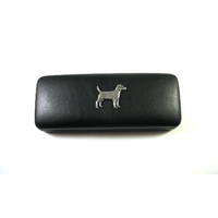 Patterdale Terrier Motif on Black Faux Leather Glasses Case