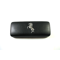 Rearing Horse Motif on Black Faux Leather Glasses Case Gift