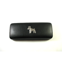Miniature Schnauzer Motif on Black Faux Leather Glasses Case Gif
