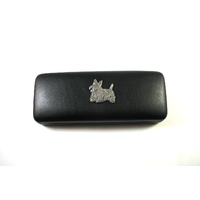 Scottish Terrier Motif on Black Faux Leather Glasses Case Gift