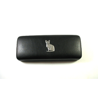Short Haired Cat Motif on Black Faux Leather Glasses Case Gift