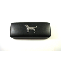 Springer Spaniel Motif on Black Faux Leather Glasses Case Gift
