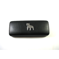 Staffordshire Bull Terrier on Black Faux Leather Glasses Case