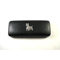 West Highland Terrier Motif on Black Faux Leather Glasses Case