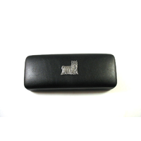 Yorkshire Terrier Motif on Black Faux Leather Glasses Case