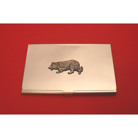 Border Collie Chrome Plated Business or Credit Card Holder