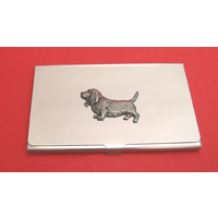 Basset Hound Chrome Plated Business or Credit Card Holder