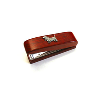 Basset Hound Motif on Rosewood Stapler Stationery Gift