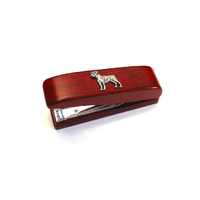 Boxer Dog Motif on Rosewood Stapler Stationery Gift