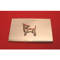 Chihuahua Dog Chrome Plated Business or Credit Card Holder