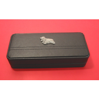 Cocker Spaniel Motif on Black Faux Leather Pen Box With 2 Pens