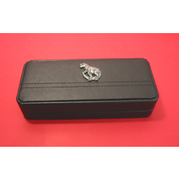 Dinosaur T Rex Motif on Black Faux Leather Pen Box With 2 Pens