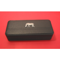 Grazing Pony Motif on Black Faux Leather Pen Box With 2 Pens