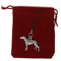 Greyhound Dog Mobile Phone Charm Pewter Pet Gift