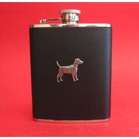 Patterdale Terrier Dog 6oz Black Leather Hip Flask