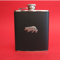 Border Collie Dog 6oz Black Leather Hip Flask