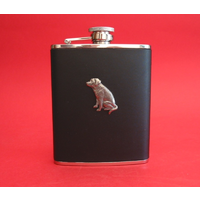 Labrador Retriever Dog 6oz Black Leather Hip Flask Gift