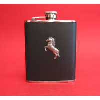 Horse Rearing 6oz Black Leather Hip Flask Horse Gift