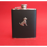 Jack Russell Terrier 6oz Black Leather Hip Flask Dog Gift