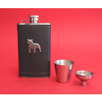 Staffordshire Bull Terrier Pewter Motif on Black Hip Flask Gift