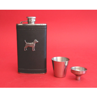 Patterdale Terrier Pewter Motif on Black Hip Flask Gift Set