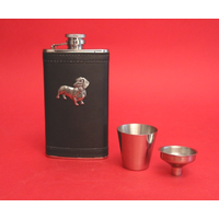 Dachshund Dog Pewter Motif on Black Hip Flask Gift Set
