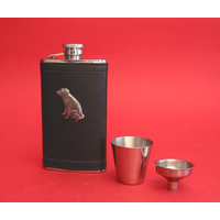 Labrador Retriever Dog Pewter Motif on Black Hip Flask Set