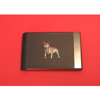 Staffordshire Bull Terrier Pewter Motif on Black Card Holder Dog