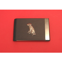 Labrador Retriever Dog Pewter Motif on Black Card Holder Dog