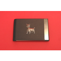 West Highland Terrier Dog Pewter Motif on Black Card Holder Dog