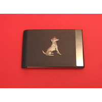 Jack Russell Terrier Dog Pewter Motif on Black Card Holder Dog