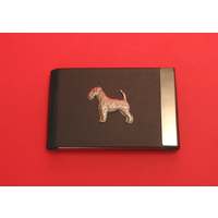 Airedale Terrier Dog Pewter Motif on Black Card Holder Dog