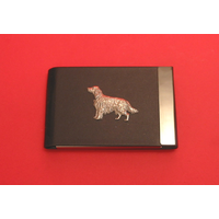 Irish Setter Pewter Motif on Black Card Holder Dog