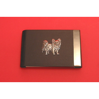 Papillon Dog Pewter Motif on Black Card Holder Dog