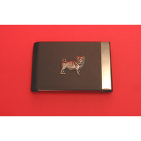Pug Dog Pewter Motif on Black Card Holder Dog Gift