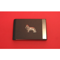 King Charles Spaniel Dog Pewter Motif on Black Card Holder Dog