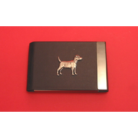 Patterdale Terrier Dog Pewter Motif on Black Card Holder Dog