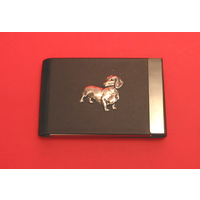 Dachshund Dog Dog Pewter Motif on Black Card Holder Dog