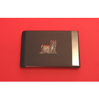 Yorkshire Terrier Dog Pewter Motif on Black Card Holder Dog