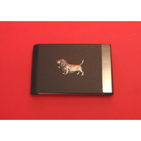Basset Hound Pewter Motif on Black Card Holder Dog