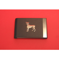 Boxer Dog Pewter Motif on Black Card Holder Dog