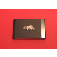 Border Collie Pewter Motif on Black Card Holder Dog