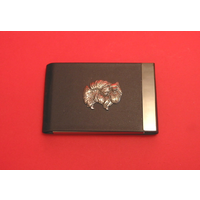 Pomeranian Dog Pewter Motif on Black Card Holder Dog