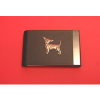 Chihuahua Dog Pewter Motif on Black Card Holder Dog