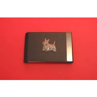 Scottish Terrier Pewter Motif on Black Card Holder Scottie Dog