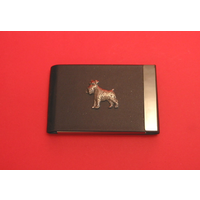Miniature Schnauzer Dog Pewter Motif on Black Card Holder