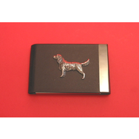 Springer Spaniel Pewter Motif on Black Card Holder Dog