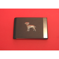 Border Terrier Pewter Motif on Black Card Holder Dog Gift